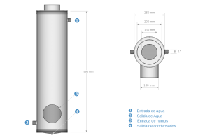 Diagrama con las medidas del recuperador
